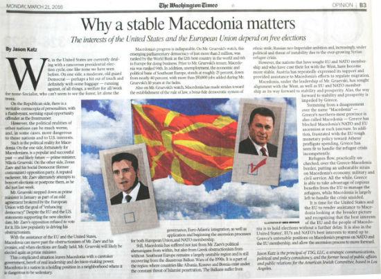 """""""Вашингтон Тајмс"""": Македонија страда од политичките будалаштини на рекетарот Заев"""