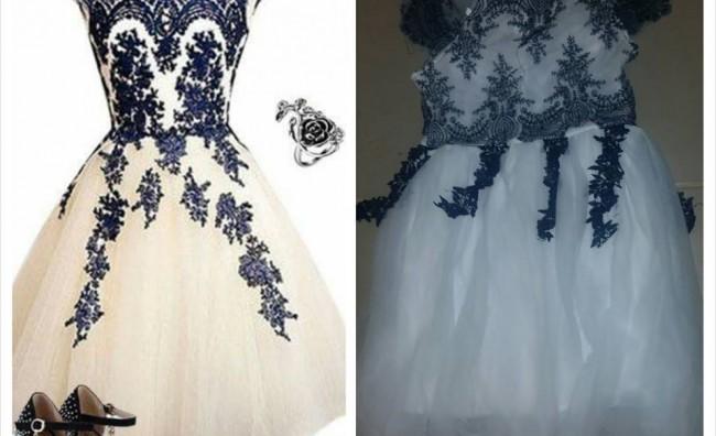 Тешка измама: Еве како изгледаат фустани кога ќе ги купите преку интернет