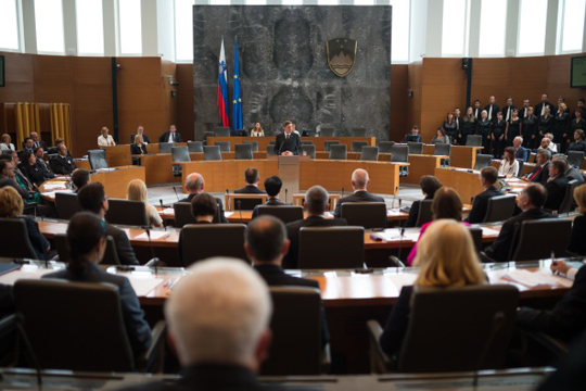 Slovenian President Borut Pahor (C) delivers a speech during the Inaugural Session of Slovenian Parliament in Ljubljana, Slovenia on August 1, 2014.  Slovenia's newly elected parliament meets for the first time on August 1 with political newcomer Miro Cerar's SMC party, the strongest force holding 36 seats in the 90-seat parliament, while Prime Minister Alenka Bratusek's ZaAB party holds only four seats. AFP PHOTO / Jure Makovec        (Photo credit should read Jure Makovec/AFP/Getty Images)