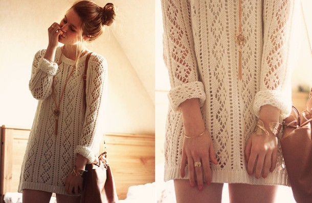 dress-dress-sweater+dress-white-cute-winter+sweater-winter+dress-nail+polish--sweater