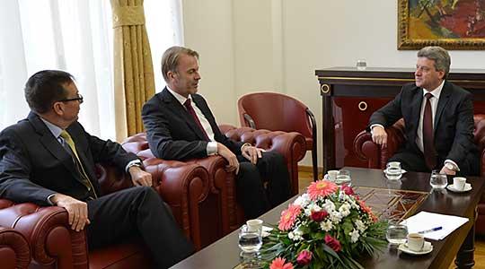 Бејли и Орав на средба кај претседателот Иванов