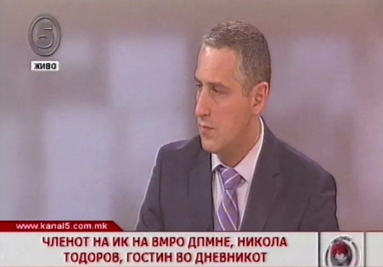 Тодоров: Граѓаните сакаат инвестиции, работа и напредок, а не анархистички филм во кој е влезен СДСМ