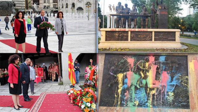 """""""Курир"""": Наутро се поклонуваат на Гоце Делчев, а попладне ги фарбаат и уништуваат спомениците на револуционерите"""