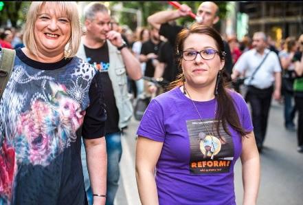 Лидија Димова на протестите во Скопје