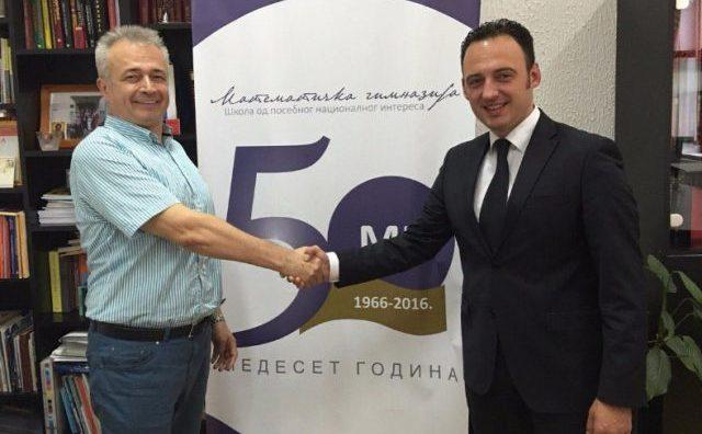 Ристовски во посета на Математичката гимназија во Белград