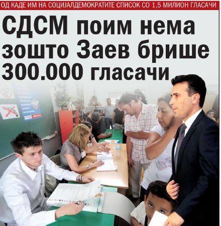 """Дневник"": СДСМ поим нема зошто Заев брише 300.000 гласачи"