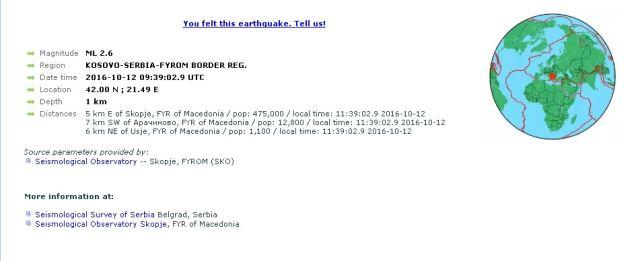 Почувствуван слаб земјотрес во околината на Скопје