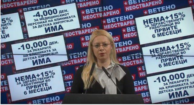 Андоновска: Ништо од ветеното покачување на платите во здравството