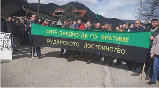 Рударите во Саса на штрајк, си ги бараат ветените 700 евра плата и бенифициран стаж